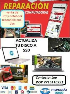 Reparacion, actualización, instalación de programas. PC notebook netbook redes