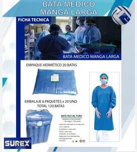 Bata quirúrgica manga larga / Traje antifluido / Traje medico / Traje cambrella.