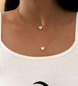 Collar a capas con diseño de corazón y diamante de imitación