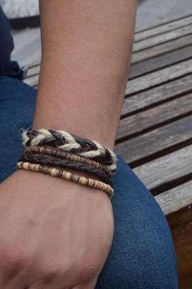 Set de 4 pulseras de cuero - individuales