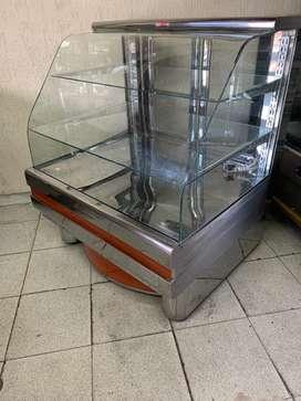 !!! OFERTA !!! VENDO Vitrina para PAN vidrio curvo en acero inoxidable PROIMPAN usada y negociable