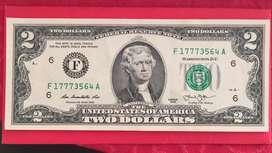 2 Dolares Billete De Colección sin Circular Nuevo