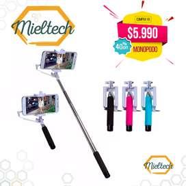 baston selfie con adaptador para celulares y disparador, monopodo,