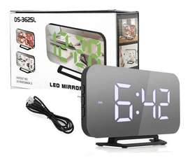 Reloj Mirror Digital Bedside Led Snooze Alarm Temperatu