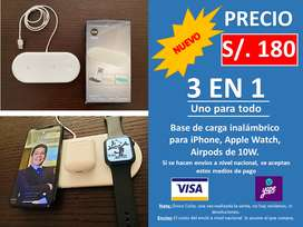 Base de carga inalámbrico para iPhone, Apple Watch, Airpods de 10W.