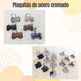 Placas de identificacion de acero cromado para perros
