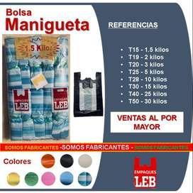BOLSA plastica MANIGUETA TIPO CAMISETA. fabricantes de bolsa plastica