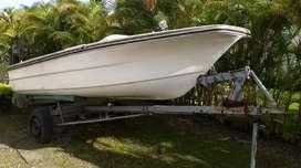 Bote Lancha Fibra de Vidrio Motor 25 Hp Pesca Voladora