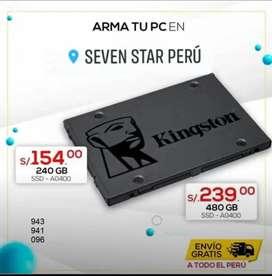 SSD 240 GB 480GB KINGSTON, AUMENTA LA VELOCIDAD DE TU LAPTOP O PC.