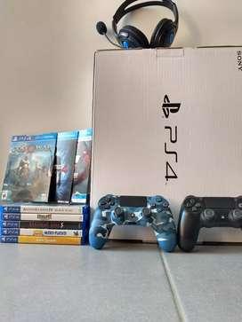 PlayStation PS4 Slim 1TB + 2 controles + 8 videojuegos + diadema + garantía
