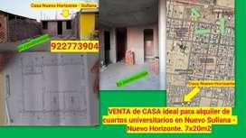 Venta de casa ideal para alquiler de universitarios en Nuevo Sullana - Nuevo Horizonte