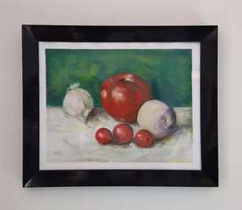 Bodegón pintura tomates y cebollas cuadro decorativo