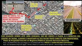 VENDO LOTE POR OCASIÓN 160 M2 FRENT A PLAZA A 3 CUADRAS DE AV EJERCITO.