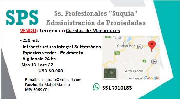 LOTE EN VENTA - CUESTA DE MANATIALES - CBA 0