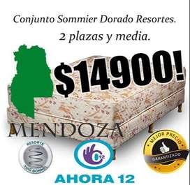 SOMMIER Y COLCHON, RESORTES 2,5 PLAZAS 140 CM X 190 CM! MEJOR PRECIO! MENDOZA Whatsapp 261- 4607-416 //mza100