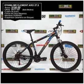 Bicicleta Montañera OYAMA  ARO rin 27.5 Shimano y Suspensión con Bloqueo, para ciudad o paseo