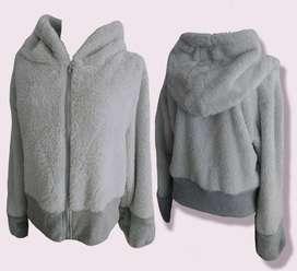 chaqueta en tela tipo ovejera, extra suave térmica