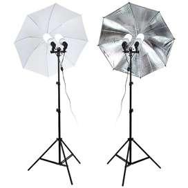 2 kit doble de iluminación continua para fotografía tattoo o web cam CON BOMBILLAS 40W