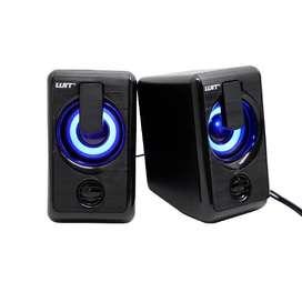 Parlantes Multimedia Wit Pm-90 Para Pc Plug 3.5 Usb Luz Led