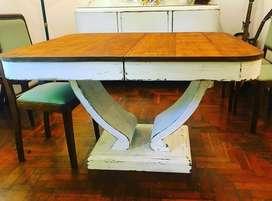 Mesa antigua de madera extensible en dos medidas resiclada
