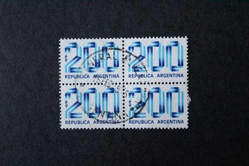 CUADRO ESTAMPILLAS ARGENTINA, 1979, CIFRAS, VALOR  200,- USADAS 0