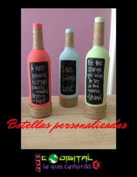 Botellas decoradas con mensajes oculto