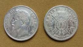 Moneda de 5 francos de plata Francia 1868