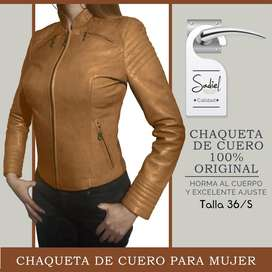 Chompa de cuero mujer 100% original, Tallas 36 /38 Entallada