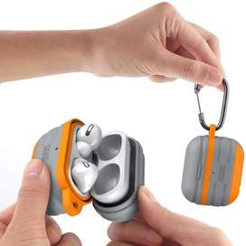 KMMIN Funda para AirPods Pro impermeable, funda de carga inalámbrica, funda protectora de silicona premium para con ganc