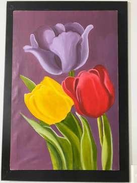 Cuadro de flores en oleo
