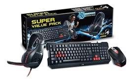 Combo Genius Teclado Mouse Y Audifono Gx Kmh-200