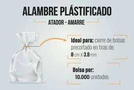 Alambre plastificado para amarres