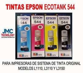 Tinta Ecotank Epson 544 kit 4 colores