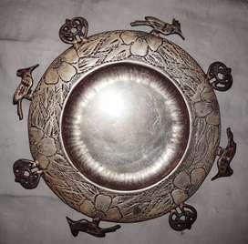 Muy Antiguo plato bañado en plata diseño especial