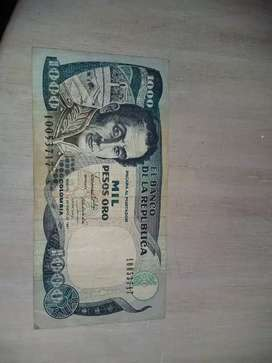 Billete de 1000 pesos oro 1991