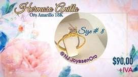Hermoso anillo solitario de Oro amarillo 18K