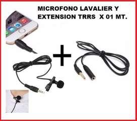 KIT MICROFONO CELULAR TRRS Y EXTENSION TRRS DE 01 METRO