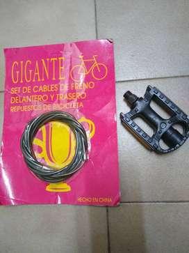 Pedal Bicicleta Nuevos reflectores1 unidad +2 cable de freno