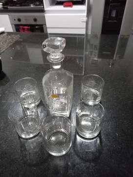 Hermoso juego de vasos de whisky con licorera cristal boheme