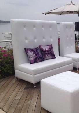 Sofa blanco 3 pax con respaldar alto