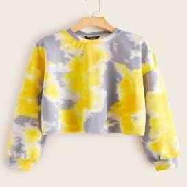Sueter de tie dye  color Amarillo con envio gratuito