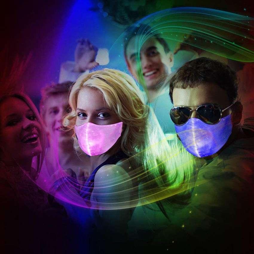 Tapabocas Mascara luminosa en todos los colores Rave Media cara Halloween fiestas y mas 0