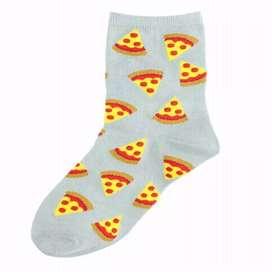 Medias color Gris Con Diseño de Pizzas