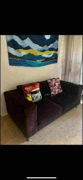 Sofa negro 2 puestos