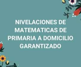 NIVELACIONES DE MATEMATICAS DE PRIMARIA A DOMICILIO GARANTIZADO