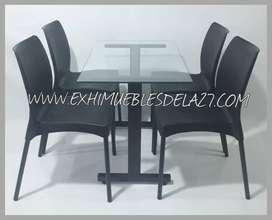 juego de 4 sillas EVA o DISEÑO ESTILO sin brazo pata cromada o pintura con mesa base h pintura tapa vidrio 10mm 90*60
