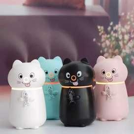 Humidificador En Forma De Gato Con Luces Led (7 Colores) 200 Ml