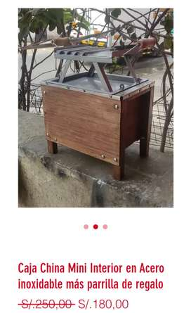 Caja China Mini interior Acero inoxidable más parrilla de regalo
