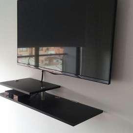 Soporte para TV fijo  con repisa inclinable, instalacion inmediata.
