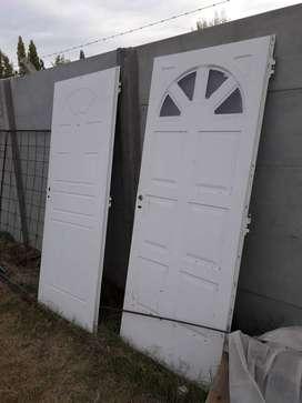 2 Puertas Exterior chapa 80cm Blancas